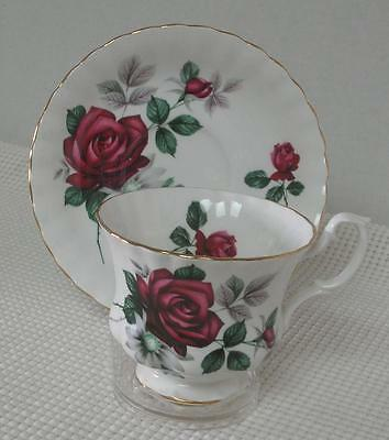 Royal Albert FOOTED TEA CUP & SAUCER DEEP RED ROSES Scalloped Bone China England
