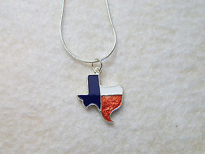 "Texas Shaped Pendant on 18"" Snake Necklace -  Red, White and Blue Enamel!"