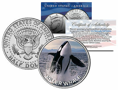 KILLER WHALE JFK Kennedy Half Dollar U.S. Colorized Coin