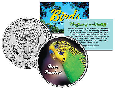 GREEN PARAKEET BIRD JFK Kennedy Half Dollar US Colorized Coin