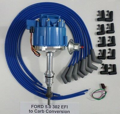 ford 5 0l 302 efi to carb hei distributor \u0026 blue universal spark plug wires usa