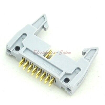 10x IDC 16 Pin Male Header Connector, Vertical, with Ejection Latch.