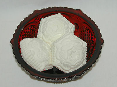 Avon 1876 Cape Cod Dessert Bowl and 3 Special Occassion Soaps Ruby Red