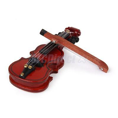 Dollhouse Miniature Musical Instrument Mahogany Wooden Violin and Bow Decoration