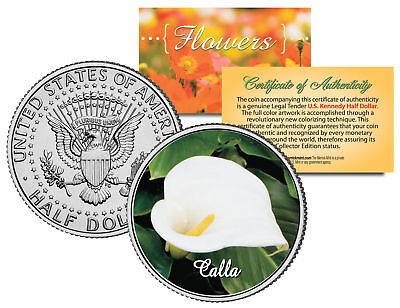 CALLA LILY FLOWER JFK Kennedy Half Dollar US Colorized Coin