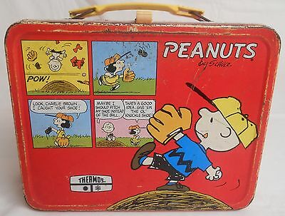 PEANUTS CHARLIE BROWN SNOOPY Vintage 1965 Red Metal Lunch Box No Thermos