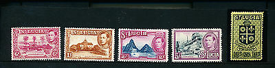 St Lucia stamps 1938 MM to 10/-