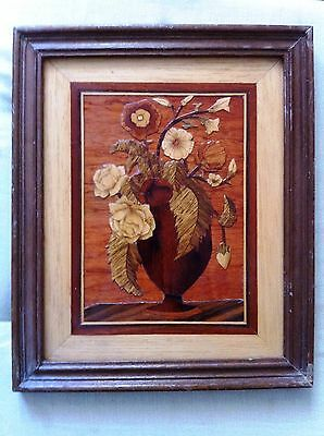 Vintage Inlay Marquetry Wood Plaque , Still Life , Flowers, Hand Made