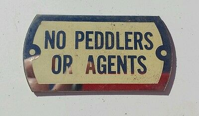 Vintage No Peddlers Or Agents Chrome Plated Brass Sign Nos Cream Paint