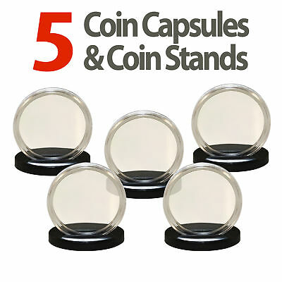 5 Coin Capsules & 5 Coin Stands for QUARTERS Direct Fit Airtight 24mm Holders