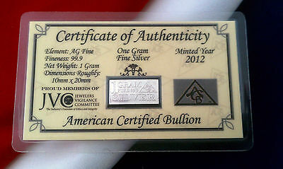 10 ACB Silver 1 GRAM INGOT Bars 999 Bullion Pure Ag W CERTIFICATE OF AUTHENTICIY