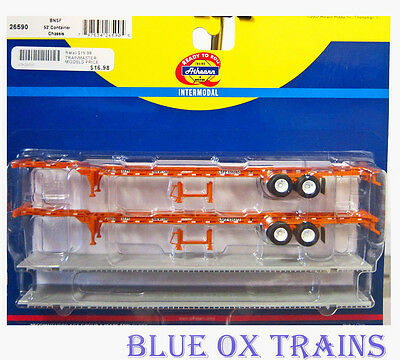Athearn 26590 HO Burlington Northern santa Fe 53' Container Chassis BNSF 2 Pack