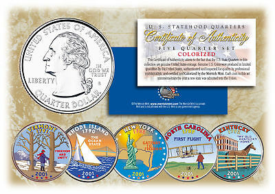 2001 US Statehood Quarters COLORIZED Legal Tender 5-Coin Complete Set w/Capsules