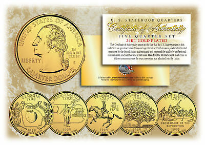 1999 US Statehood Quarters 24K GOLD PLATED ** 5-Coin Complete Set ** w/Capsules
