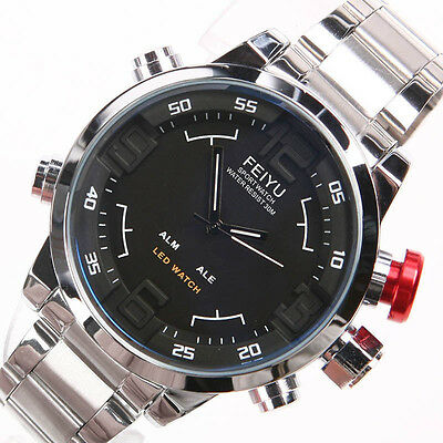 Limited!Oversized Men's Quartz Sports Military Watch Luxury 3ATM Water Resistant