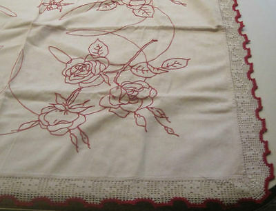 Vintage Red Roses Embroidered Tablecloth - Crochet Edge