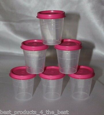 Tupperware Tupper Minis Set of 6 Midgets 2oz Container Pill Box Pink New