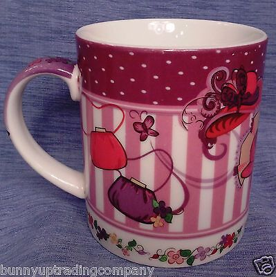 Red Hat Society by Paul Cardew Design 'Tea Time' Mug 2004 w/ hats, gloves, purse