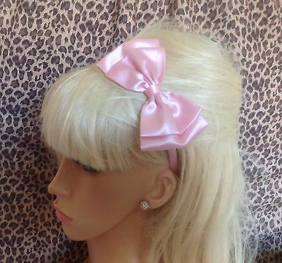 "Handmade Pale Baby Pink Satin  5"" Side Bow Alice Hair Head Band Vintage Retro"