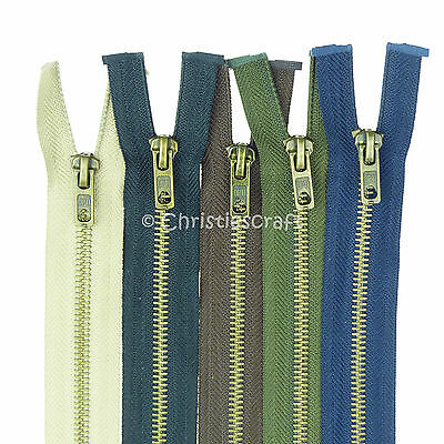 Opti Antique Brass  Metal Teeth Open End Zip - Choice of Colour and Length.