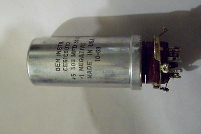 *Recovered Gen Inst  500Mfd 50V  DC capacitor with Octal Base P/N CE51C501G