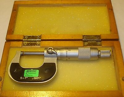 Fowler 1 In Micrometer W/ Carbide Faces .0001 Grads Ratchet Stop Locking Lever