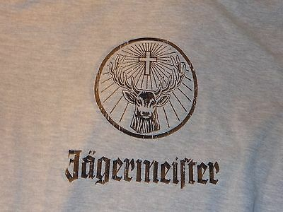 Jagermeister T Shirt..Grey - Deer Head Logo & Lettering - Worn Look - Large..NEW
