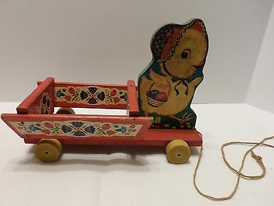 Fischer-Price Chick and Cart Pull Toy #400 very good condition