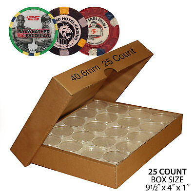 25 Direct-Fit Airtight 40.6mm Capsule Holders For CASINO CHIPS Poker Chips w/BOX