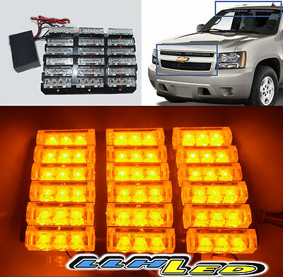 54 Led Emergency Vehicle Strobe Lights Bars Warning Deck Dash Grille Yellow A