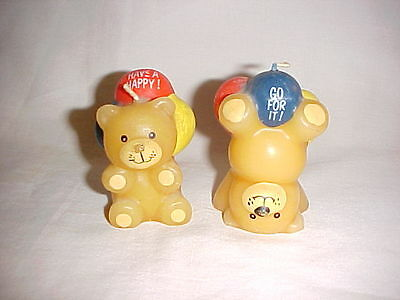 Vintage Party Decorations, 2 Teddy Bear with Balloons Shaped Candles-Decorations