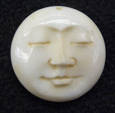 Moon Face With Closed Eyes Natural Water Buffalo Bone Round Amulet 20mm Pendant
