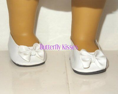 White Patent Bow Shoes Doll Clothes Made For 18 in American Girl Dolls