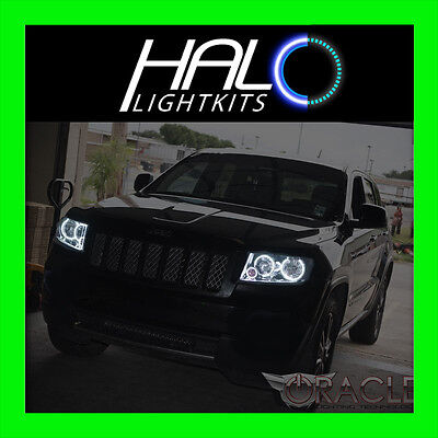 2011-2013 Jeep Grand Cherokee WHITE LED Headlight Halo Ring Kit Oracle Lighting