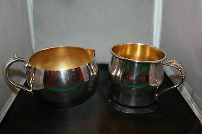 Lovely Vintage Silver Plate Creamer and Sugar Set, Marked Oneida and Rogers