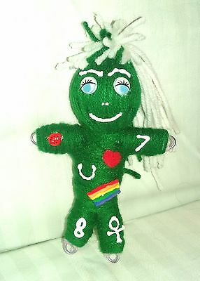 Green Poppet Money Good Luck Symbols spell instruction voodoo doll hoodoo Wanga