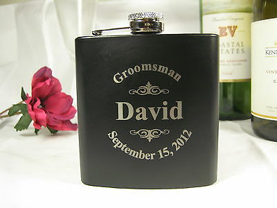 Personalized Engraved Flask Groomsman Best Man Wedding Gifts Black Logo style