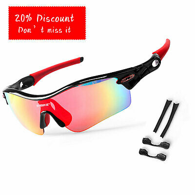 Cycling Polarized Sunglasses Sport Riding Eyewear Goggles Glasses With  5 Lense