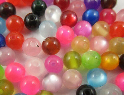 wholesale  Mixed color acrylic cat eye spacer beads 6mm 4mm 8mm