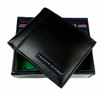 Tommy Hilfiger Black Leather Mens Cambridge bifold wallet new Authentic