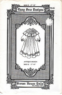 "Easy Sew Designs Sewing Pattern BHD 52 Antique Design for 17"" - 18"" Dolls"
