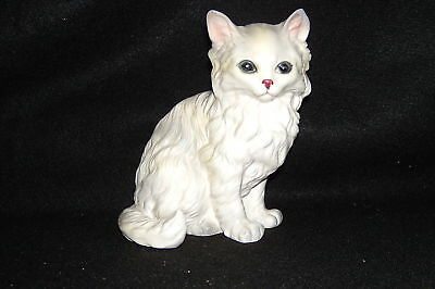 """5.25"""" Lefton White Pottery Kitty #1514 Red Paper Label"""