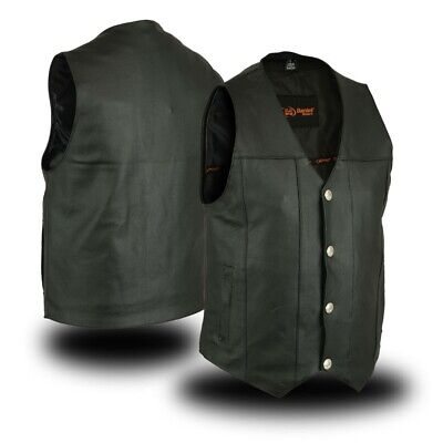 MENS MC CLUB & BIKER LEATHER VEST w/ CONCEAL CARRY POCKETS - MA9