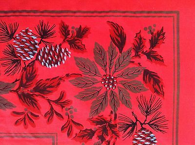 Vintage Christmas Red TableCloth Pinecones Holly Poinsettias Metallic Gold