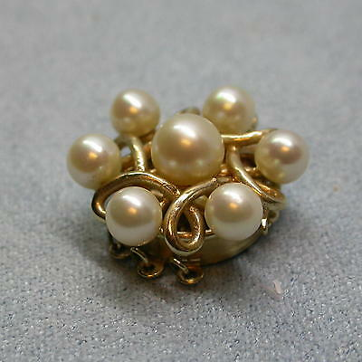 """Vintage 3-Strand 14kt Yellow Gold and Pearl Necklace Clasp. 3/4"""" Diameter. Nice!"""
