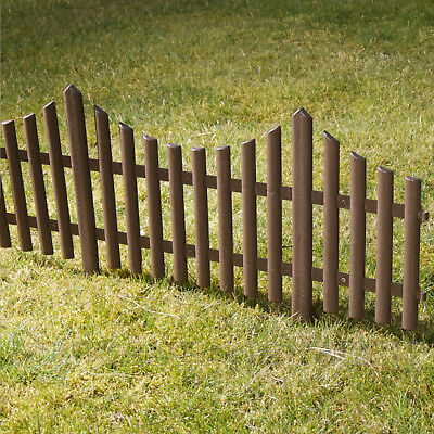 4 x LENGTHS BROWN CURVE PICKET PLASTIC LAWN EDGING MINI FANCY FENCING 2.4mtr