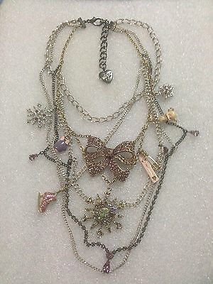 Betsey Johnson Winter Wonderland, Snowflake, Bow, Bunny Necklace Rare