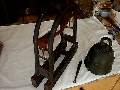 ANTIQUE SOUTHEAST ASIA HILLTRIBE ELEPHANT BELL ON DISPLAY STAND