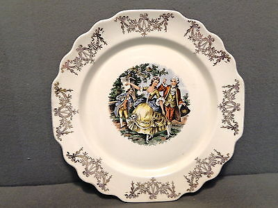 COURTING COUPLE DINNER PLATE W S GEORGE LIDO CANARYTONE