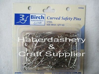 Safety Pins Steel Boxed X 60 Curved 38Mm